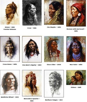 "Howard Terpning Matching Numbered Limited Edition Canvas Giclees:"" Portraits of Our Native American History (12pc Set)"""