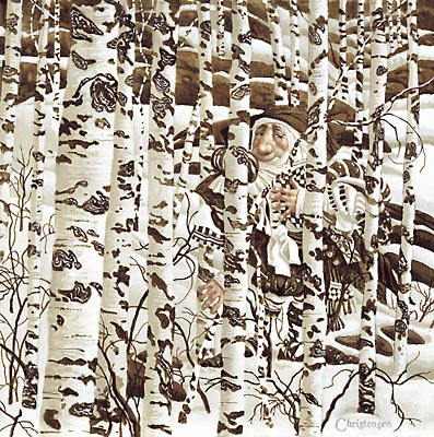 "James C. Christensen Limited Edition Print: ""A Christensen Character Cleverly Camouflaged in a Doolittle Landscape"""