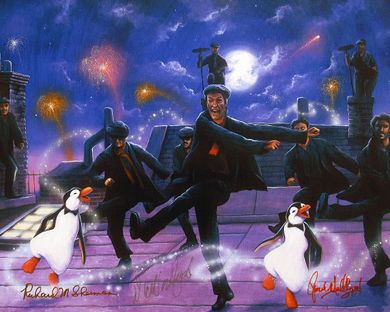 """James C. Mulligan Signed and Numbered Limited Edition Hand-Embellished Giclée on Canvas:""""Dancing on the Rooftops"""""""