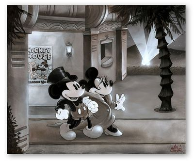 """James C. Mulligan Signed and Numbered Limited Edition Hand-Embellished Giclée on Canvas:""""Gala Mickey and Minnie"""""""
