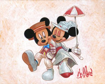 """James C. Mulligan Signed and Numbered Limited Edition Hand-Embellished Giclée on Canvas:""""Jolly Holiday with Minnie"""""""