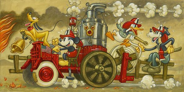 """Tim Rogerson Artist Signed Hand-Embellished Ltd Ed Gallery Wrap Canvas:""""Mickey's Fire Brigade"""""""