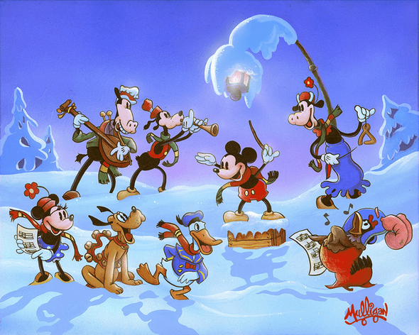 """James C. Mulligan Signed and Numbered Limited Edition Hand-Embellished Giclée on Canvas:""""Mickey's Winter Symphony"""""""