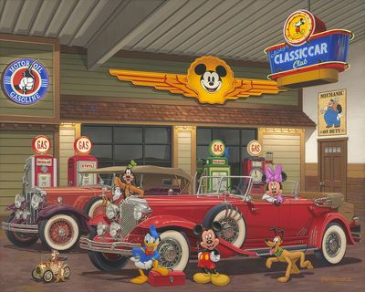 "Manuel Hernandez Artist Signed Hand-Embellished Ltd Ed Gallery Wrap Canvas:""Mickey's Classic Car Club"""