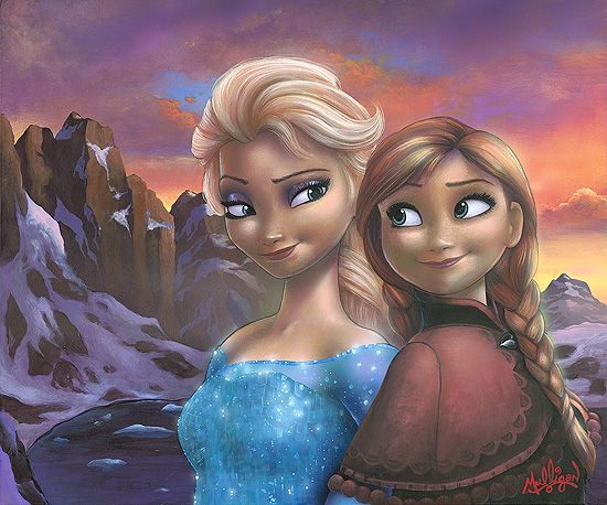 """James C. Mulligan Signed and Numbered Limited Edition Hand-Embellished Giclée on Canvas:""""Sisters of Arendelle"""""""