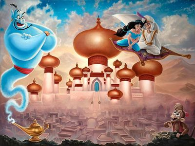 """Jared Franco Artist Signed Hand-Embellished Ltd Ed Gallery Wrap Canvas:""""A Whole New World"""""""