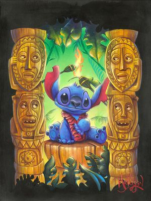 """James C. Mulligan Signed and Numbered Limited Edition Hand-Embellished Giclée on Canvas:""""Tiki Trouble"""""""