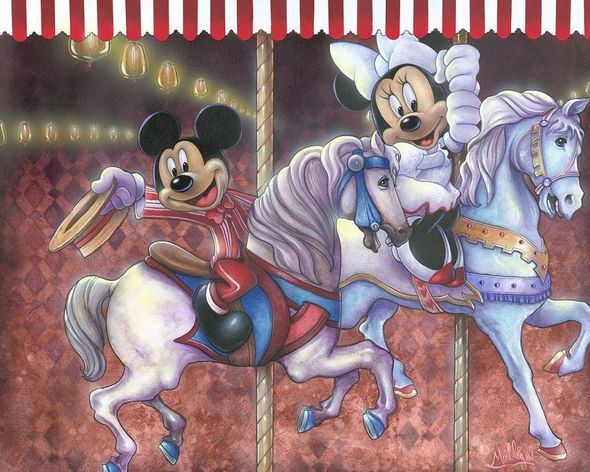 """James C. Mulligan Signed and Numbered Limted Canvas Giclée: """"Carousel of Magic"""""""