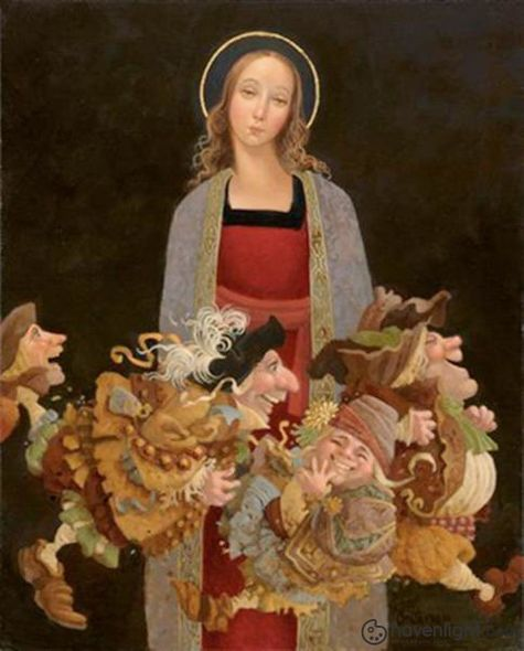 "James Christensen Limited Edition Canvas Giclee:""Madonna With Guys"""