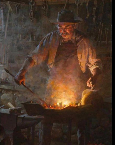 "Morgan Weistling Artist Signed Limited Edition Canvas Giclee:""The Blacksmith Shop"""