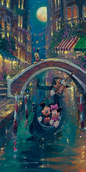 """James Coleman Hand Signed and Numbered Limited Edition Embellished Canvas Giclee:""""Moonlight in Venice (Mickey Mouse)"""""""