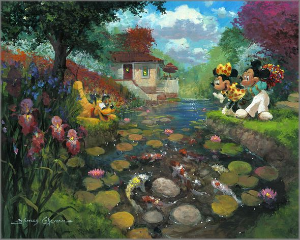 "James Coleman Hand Signed and Numbered Limited Edition Giclee on Canvas:""Mickey's Koi Pond"""