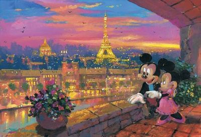 """James Coleman Handsigned and Numbered Limited Edition Embellished Giclee on Canvas: """"A Paris Sunset"""""""