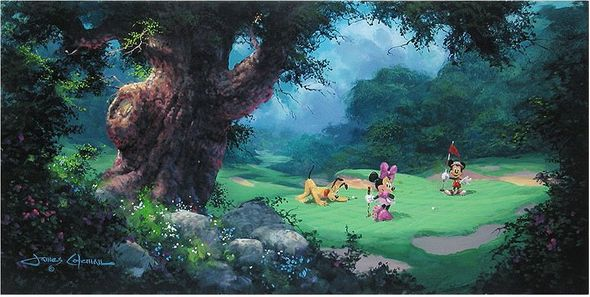 """James Coleman Handsigned and Numbered Limited Edition Embellished Giclee on Canvas: """"On the Green"""""""