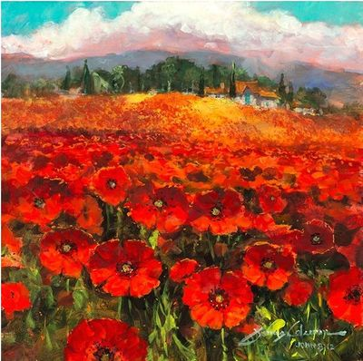 "James Coleman Handsigned and Numbered Limited Edition Giclee on Canvas:""Daydreaming in a Field of Poppies"""