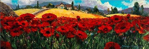 "James Coleman Handsigned and Numbered Limited Edition Giclee on Canvas:""Fields of Red and Gold"""