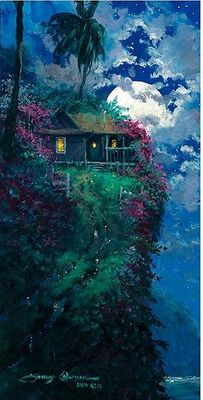 """James Coleman Handsigned and Numbered Limited Edition Giclee on Canvas:""""Full Moon Reflection"""""""