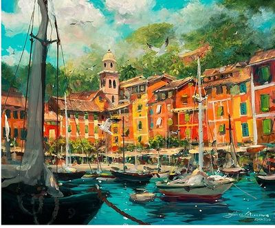 """James Coleman Handsigned and Numbered Limited Edition Giclee on Canvas:""""Reflections of Portofino"""""""