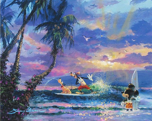 """James Coleman Handsigned and Numbered Limited Edition Giclee on Canvas:""""Summer Escape"""""""