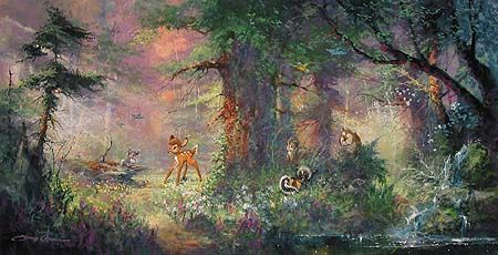 "James Coleman Limited Edition Giclee on Canvas :""Springtime in the Meadows - Bambi"""
