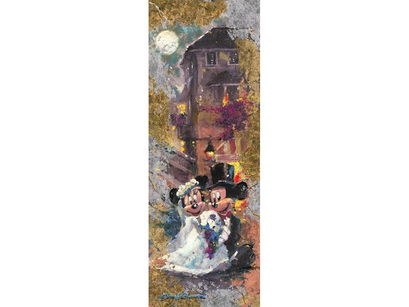 """James Coleman Limited Edition Mixed-Media Gold and Silver Applique on Canvas Giclee:""""Reflections of Love -Mickey & Minnie"""""""