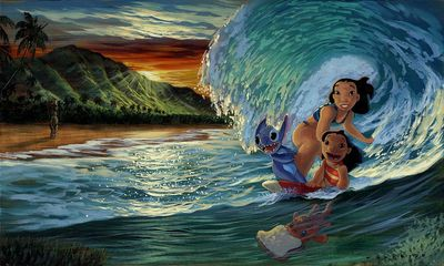 "Walfrido Garcia Artist Signed Hand-Embellished Ltd Ed Gallery Wrap Canvas:""Morning Surf"""
