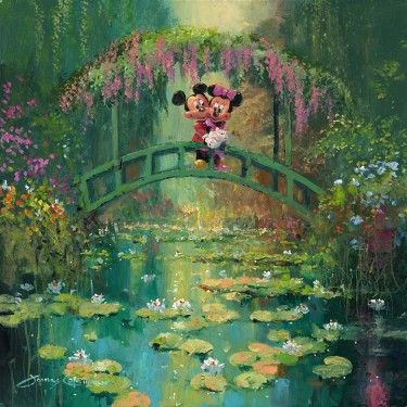 "James Coleman Signed and Numbered Giclée on Canvas Hand-Embellished with Painted Accents: ""Mickey and Minnie at Giverny """