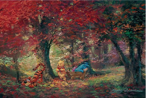 "James Coleman Signed and Numbered Hand Embellished Limited Edition Giclee on Canvas:""Adventure in the Woods"""
