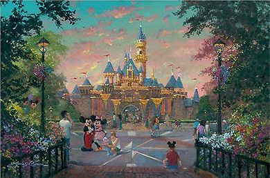 "James Coleman Signed and Numbered Hand Embellished Limited Edition Giclee on Canvas:""Disneyland - Twilight Beauty"""