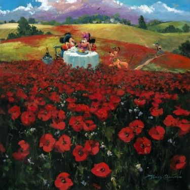 "James Coleman Signed and Numbered Hand Embellished Limited Edition Giclee on Canvas:""Red Poppies"""