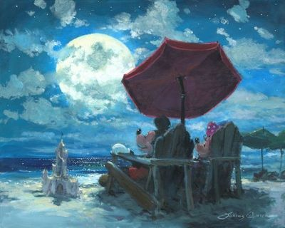 """James Coleman Signed and Numbered Hand Embellished Limited Edition Giclee on Canvas:""""Under the Moonlight"""""""