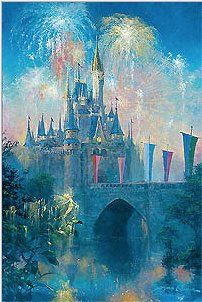 """James Coleman Signed and Numbered Hand Embellished Limited Edition Giclee on Canvas:""""Walt Disney World Castle"""""""