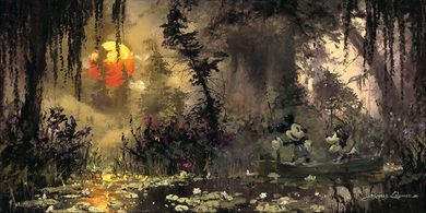 "James Coleman Signed and Numbered Limited Edition Hand-Embellished Giclée on Canvas:""Fishing at Lily Pad Lake"""