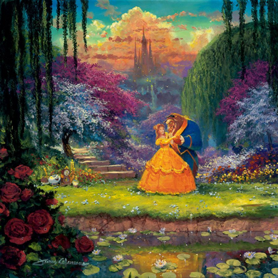 """James Coleman Signed and Numbered Limited Edition Hand-Embellished Giclée on Canvas:""""Garden Waltz"""""""