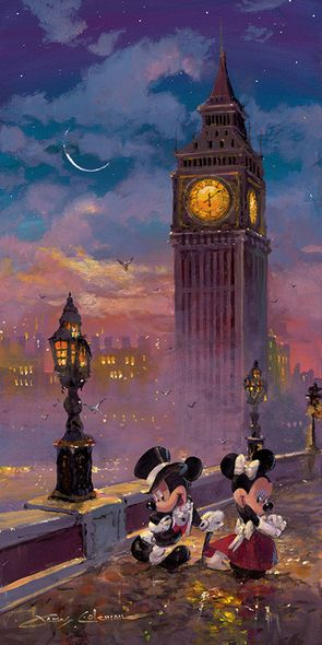 """James Coleman Signed and Numbered Limited Edition Hand-Embellished Giclée on Canvas:""""Mickey and Minnie in London (Deluxe)"""""""
