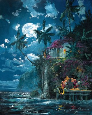 """James Coleman Signed and Numbered Limited Edition Hand-Embellished Giclée on Canvas:""""Night Fishin' in Paradise"""""""