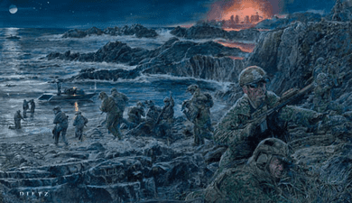 """James Dietz Hand Signed and Numbered Limited Edition Print:""""Abandon Self, Embrace Team (Navy Seals)"""""""