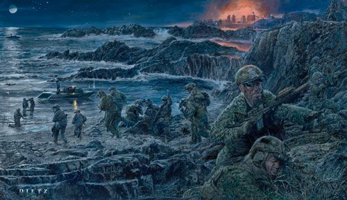 "James Dietz Hand Signed and Numbered Limited Edition Print:""Abandon Self, Embrace Team (Navy Seals)"""