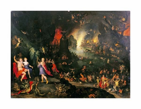"""Jan Bruegel II Fine Art Open Edition Giclée:""""Orpheus Playing to Pluto and Persephone in the Underworld"""""""