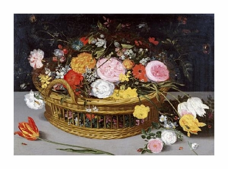 "Jan Bruegel the Elder Fine Art Open Edition Giclée:""Roses Tulips, and Other Flowers in a Wicker Basket"""