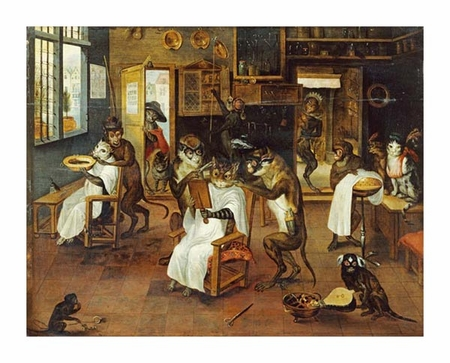 "Jan Van Kessel Fine Art Open Edition Giclée:""A Singerie: Monkey Barbers Serving Cats"""