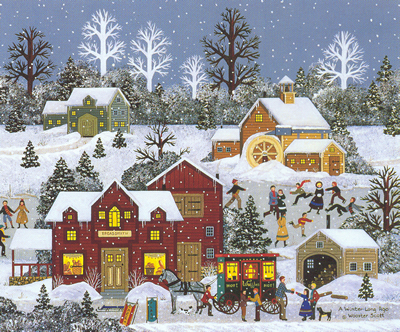 """Jane Wooster Scott Hand Signed and Numbered Limited Edition Lithograph:""""A Winter Long Ago"""""""