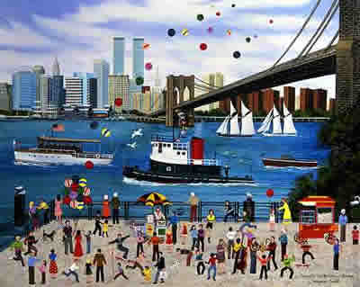 """Jane Wooster Scott Hand-Signed and Numbered Limited Edition Remarque Lithograph:""""Beneath The Brooklyn Bridge"""""""