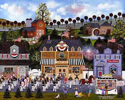 "Jane Wooster Scott Hand Signed and Numbered Limited Edition Lithograph:""Celebration Of America"""