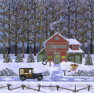 """Jane Wooster Scott Hand Signed and Numbered Limited Edition Lithograph:""""Final Stop, Rte. 8"""""""