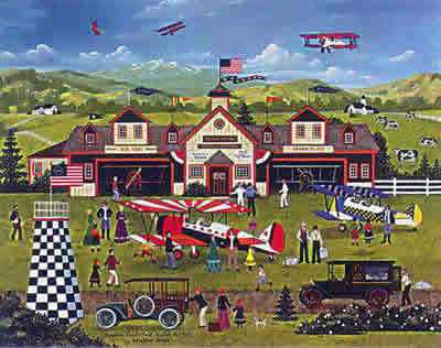 """Jane Wooster Scott Hand Signed and Numbered Limited Edition Lithograph:""""Franklin Field's First Annual Air Fair"""""""