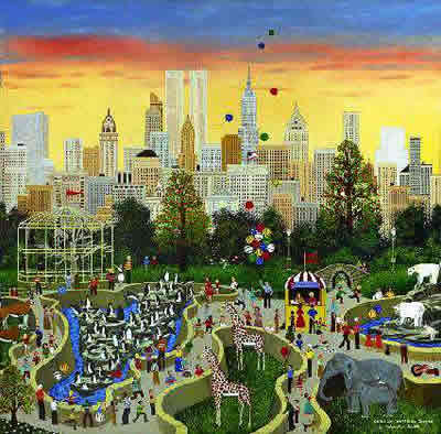 """Jane Wooster Scott Hand Signed and Numbered Limited Edition Lithograph:""""Oasis In The Urban Jungle"""""""