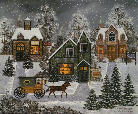 """Jane Wooster Scott Hand Signed and Numbered Limited Edition Print: """"A Real Snow Job"""""""