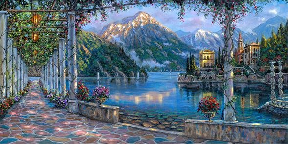 "Robert Finale Artist Signed Hand-Embellished Limited Edition Canvas Giclee:""Gardens of Varenna"""