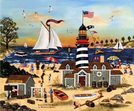 """Jane Wooster Scott Handsigned and Numbered  Limited Edition Print: """"Beacon on the Beach"""""""